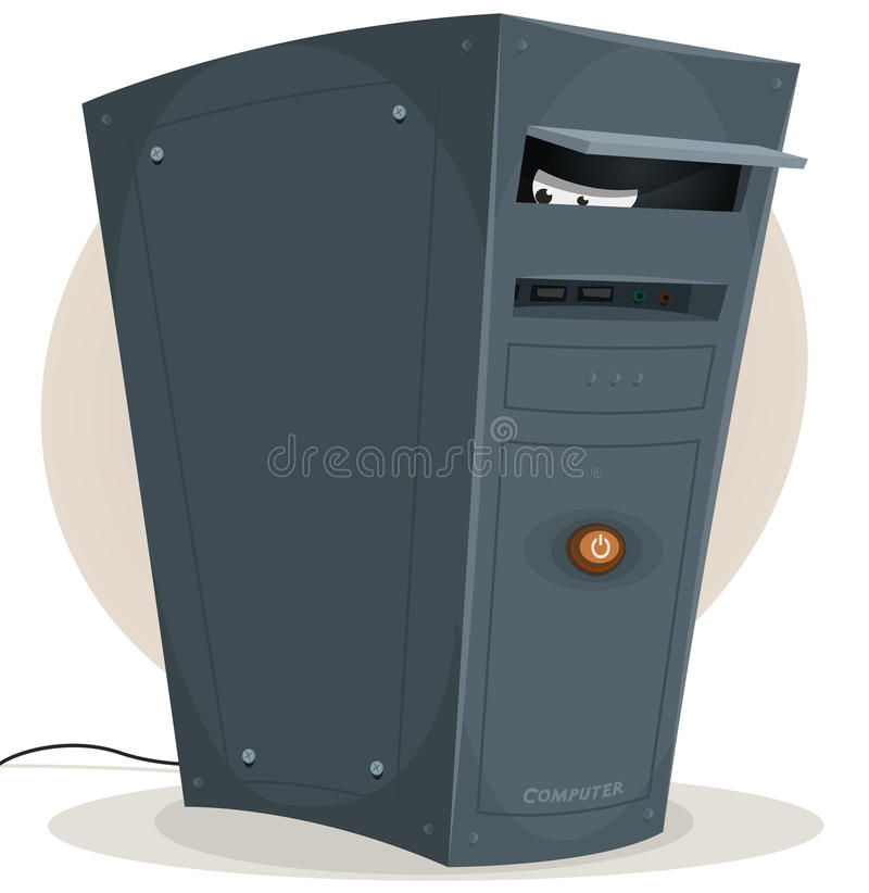 Spying Eyes From My Desktop Computer. Illustration of a cartoon desktop computer tower within spying eyes, symbolizing virus, spyware and other intrusive royalty free illustration