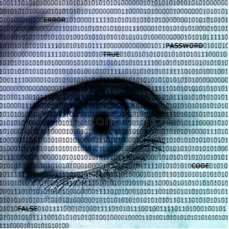 Spying on personal data concept. An open eye in closeup. Whole picture covered with ones and zeros and computer terms. Internet security/personal data concept royalty free stock photos