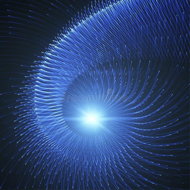 Spyral Błękitni Lekcy promienie, fajerwerki Lub Energetyczny przepływ, ilustracji