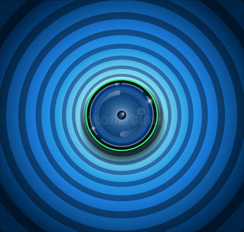 Spyware eyeball on blue background stock illustration