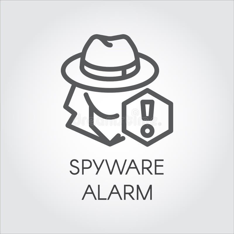 Spywarewarnungsikone in der Linie Design Abstrakte menschliche Figur im Hut und Ausrufezeichen umreißen Bilddagramm Spions-Entwur stock abbildung