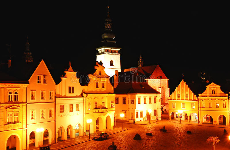 Sqare of the small town Pelhrimov stock photo