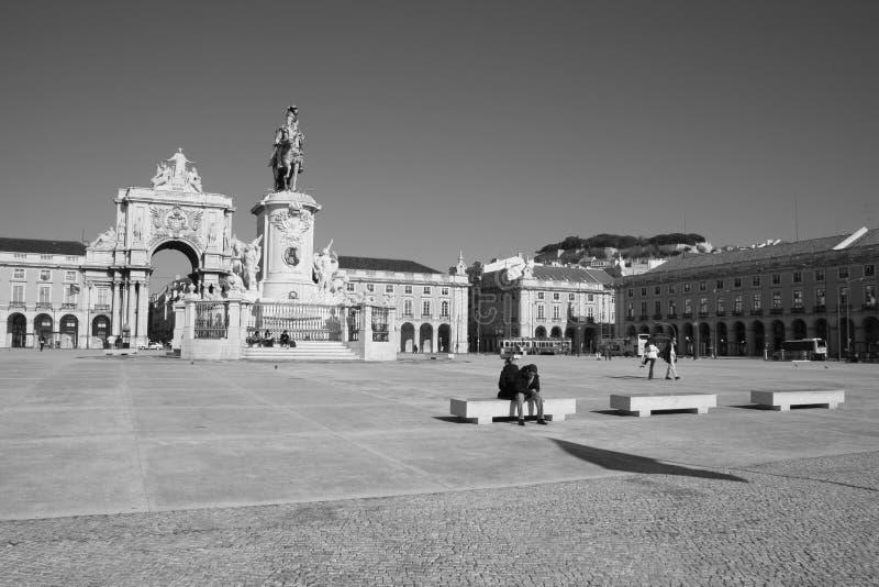 Sqaure in Lisbon stock photos