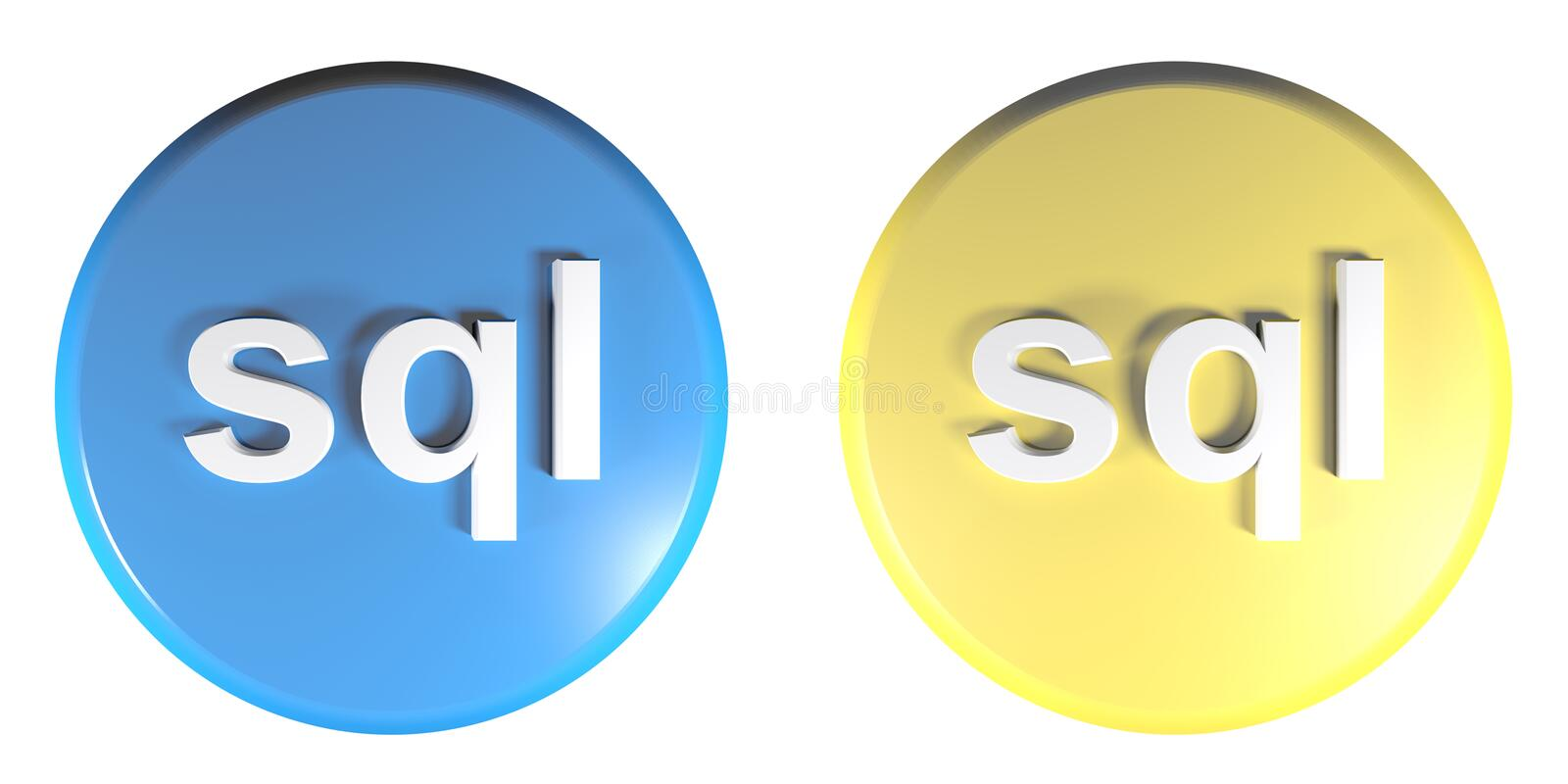 Sql blue and yellow circle push buttons - 3D rendering illustration. Two circle push buttons, blue and yellow, isolated on white background, with the write sql royalty free illustration