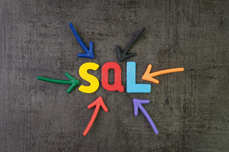 SQL modern programming language for database in software development or application concept, multi color arrows pointing to the stock photography