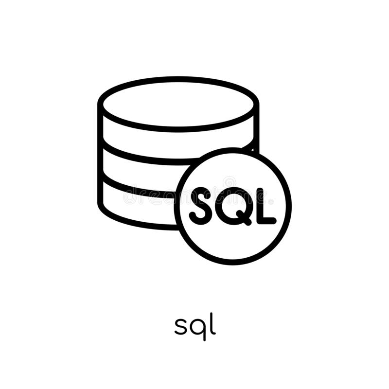 SQL pictogram In modern vlak lineair vectorsql pictogram op witte bac vector illustratie