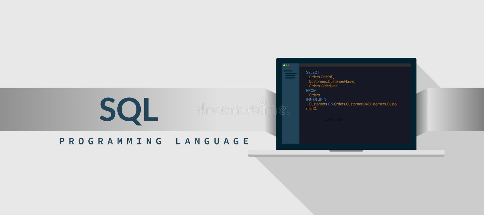 SQL programming language with script code on laptop screen, programming language code illustration stock illustration