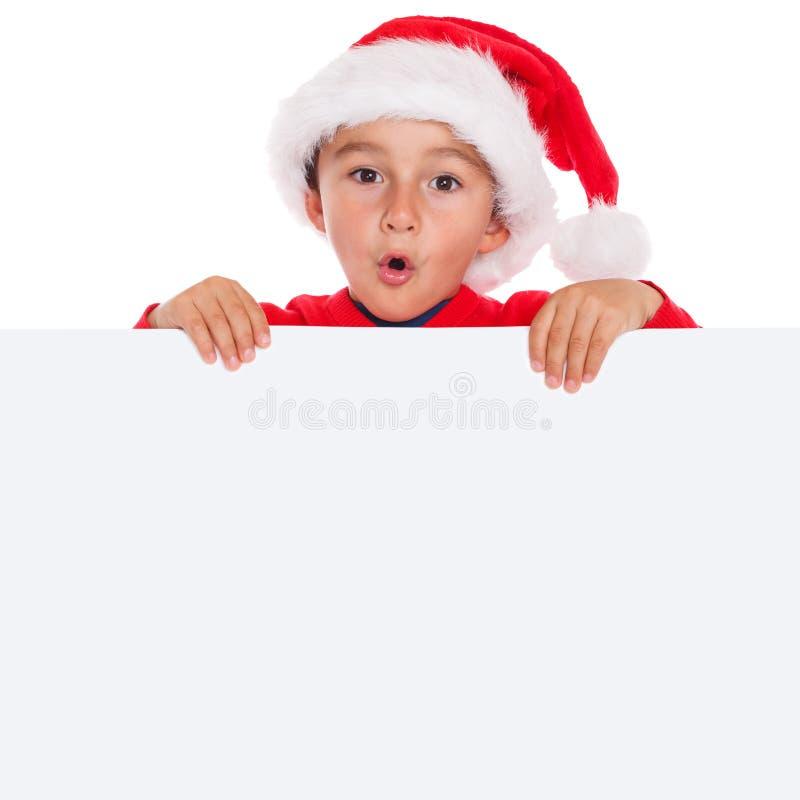 Squa vacío del copyspace de la bandera de Santa Claus de la tarjeta de Navidad del niño del niño fotografía de archivo libre de regalías