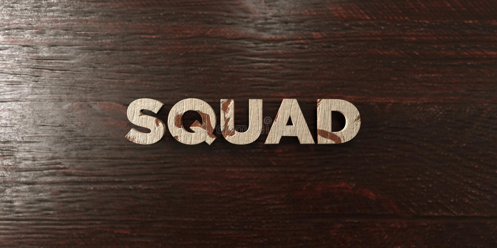 Squad - grungy wooden headline on Maple - 3D rendered royalty free stock image. This image can be used for an online website banner ad or a print postcard royalty free illustration