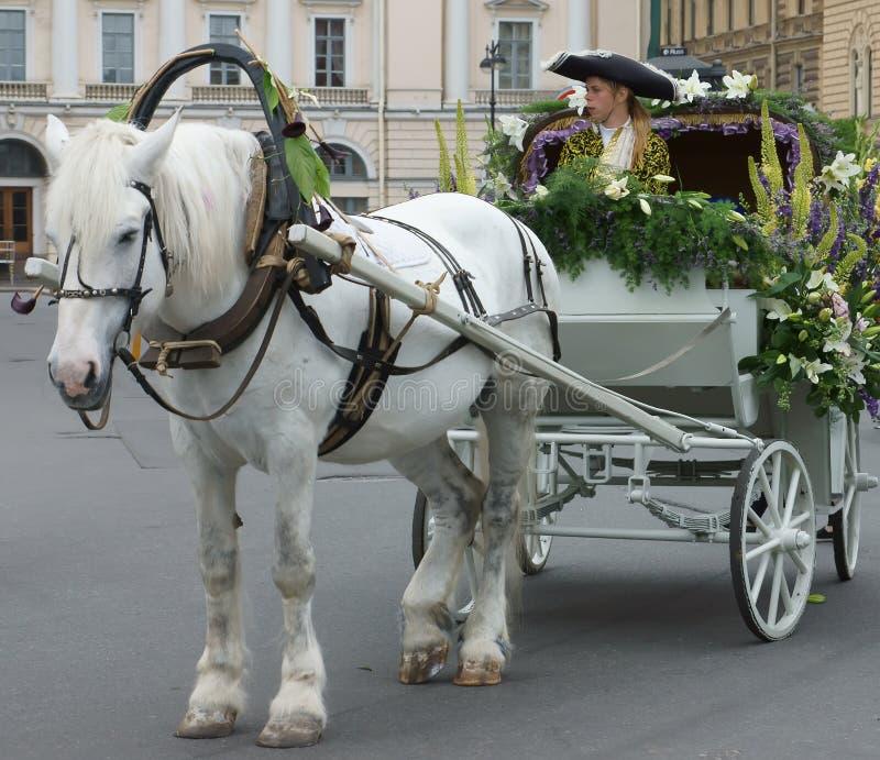 Squadra del cavallo ed attori sconosciuti dei teatri della via in costumi variopinti immagini stock