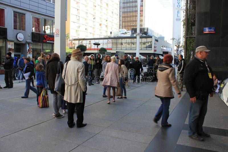 Squadra del lavoro nel centro urbano fotografia stock