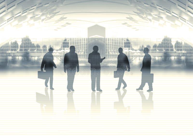 Squadra di affari su orizzonte illustrazione di stock