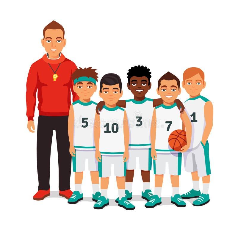 Squadra di pallacanestro dei ragazzi di scuola con la loro vettura royalty illustrazione gratis