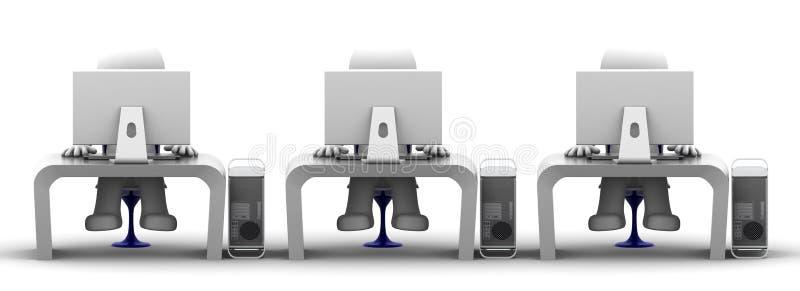 Squadra di specialisti in materia di computer nel luogo di lavoro royalty illustrazione gratis