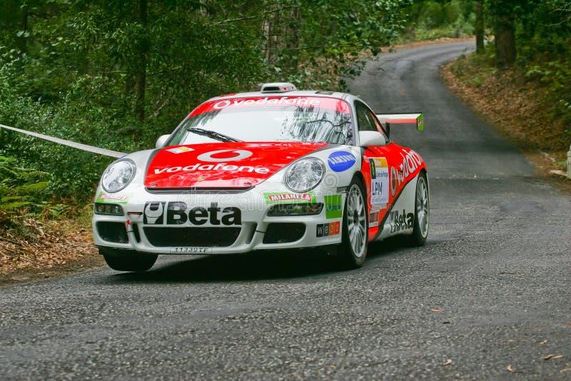 Squadra di Vodafone in Rallye Centro de Portogallo immagini stock libere da diritti