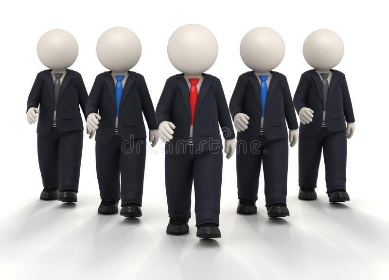 squadra e guida di affari 3d in uniforme illustrazione di stock