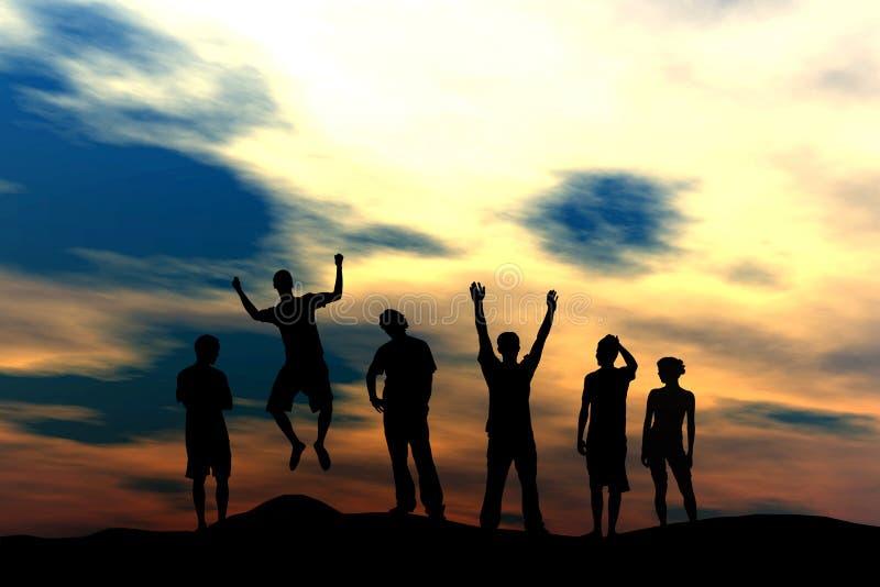 Squadra felice - tramonto illustrazione di stock