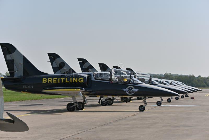 Squadra Jet Breitling, Jets ALBATROS L39 fotografia stock