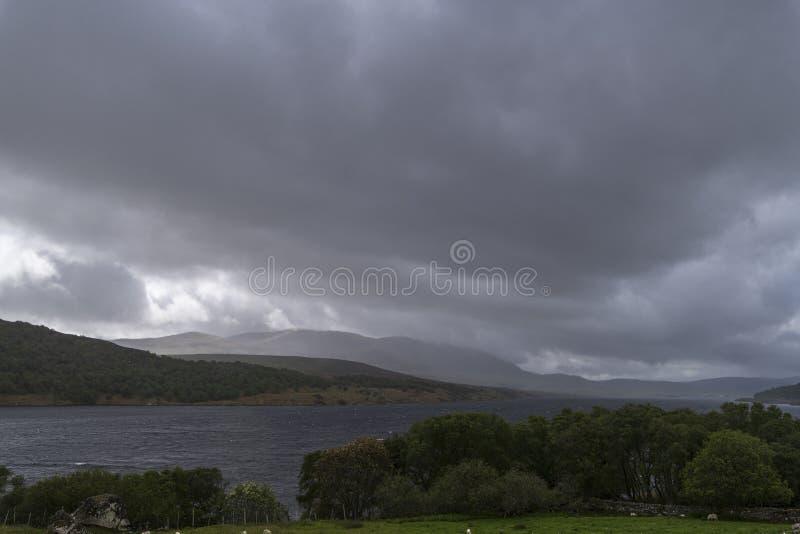 Squally Rain over Ben Klibreck stock photos