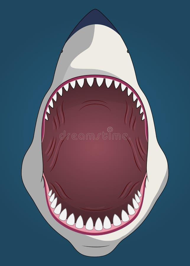 Squalo con la bocca aperta illustrazione di stock