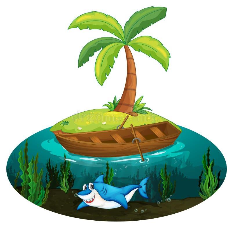 Squalo ed isola royalty illustrazione gratis