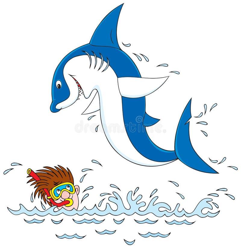 Squalo ed operatore subacqueo illustrazione vettoriale