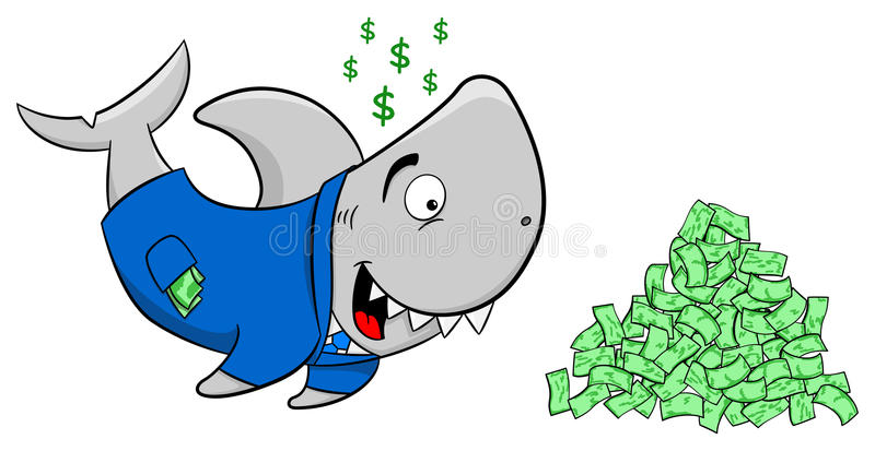 Squalo finanziario sorridente del fumetto illustrazione vettoriale