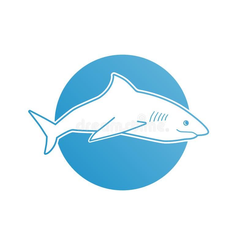 Squalo piano blu di logo per la società, l'affare, il club e lo sport di squadra illustrazione di stock
