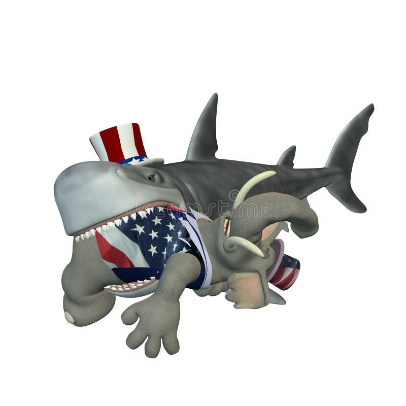 Squalo politico - repubblicano illustrazione di stock
