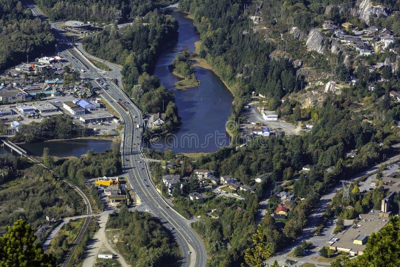 Squamish, ДО РОЖДЕСТВА ХРИСТОВА, Канада, взгляд птицы стоковое изображение