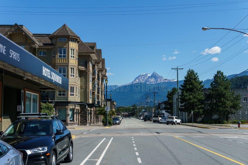 Squamish, Kanada - 22. Juli 2018: Zweite Allee im Squamish-Britisch-Columbia-Hotel Squamish stockbild