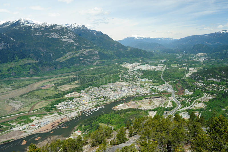 Squamish town and mountain stock photography