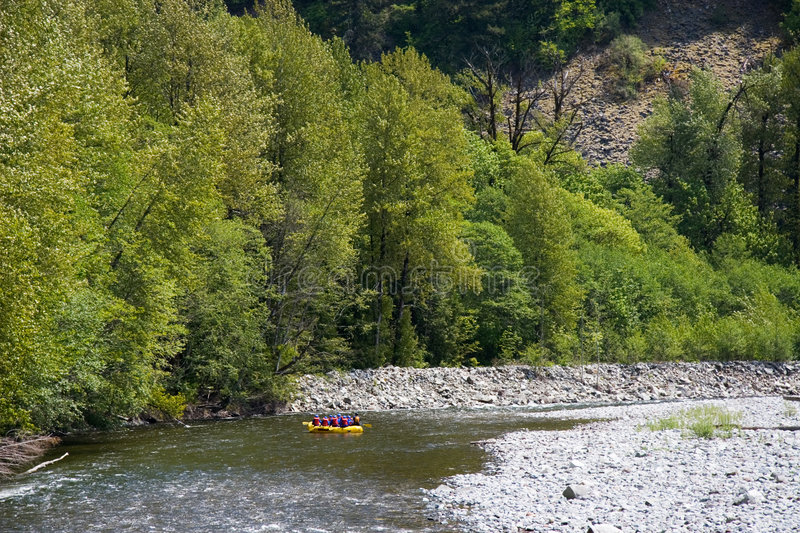 Squamish Valley. A raft floats on a smooth stretch of the Cheakamus River in British Columbia stock photo