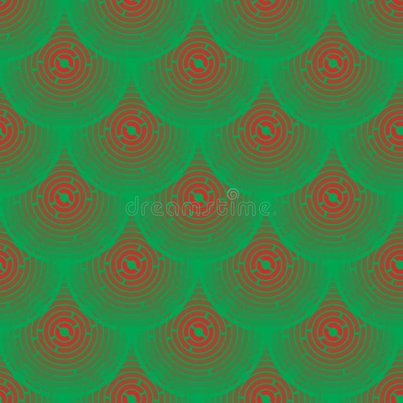 Squamous Vermelho E Verde Do Teste Padrão Do Vetor - Imagens de Stock