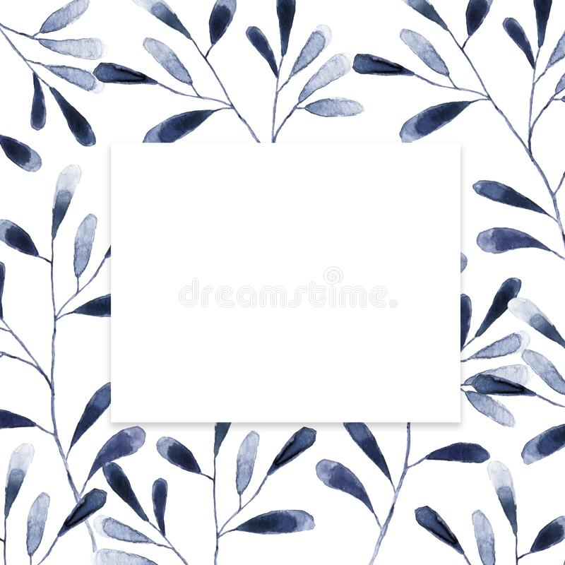Squar Frame with blue and white hydrangea flowers on white background. Floral design for cosmetics, perfume, beauty care products stock illustration