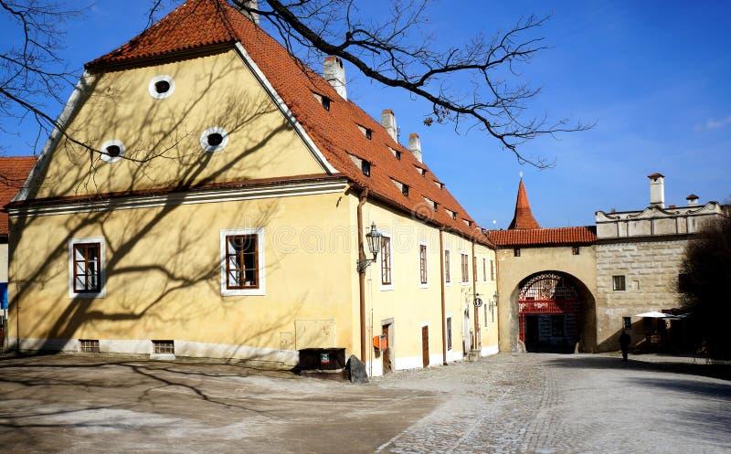 The square in Český Krumlov city. In early spring stock photo