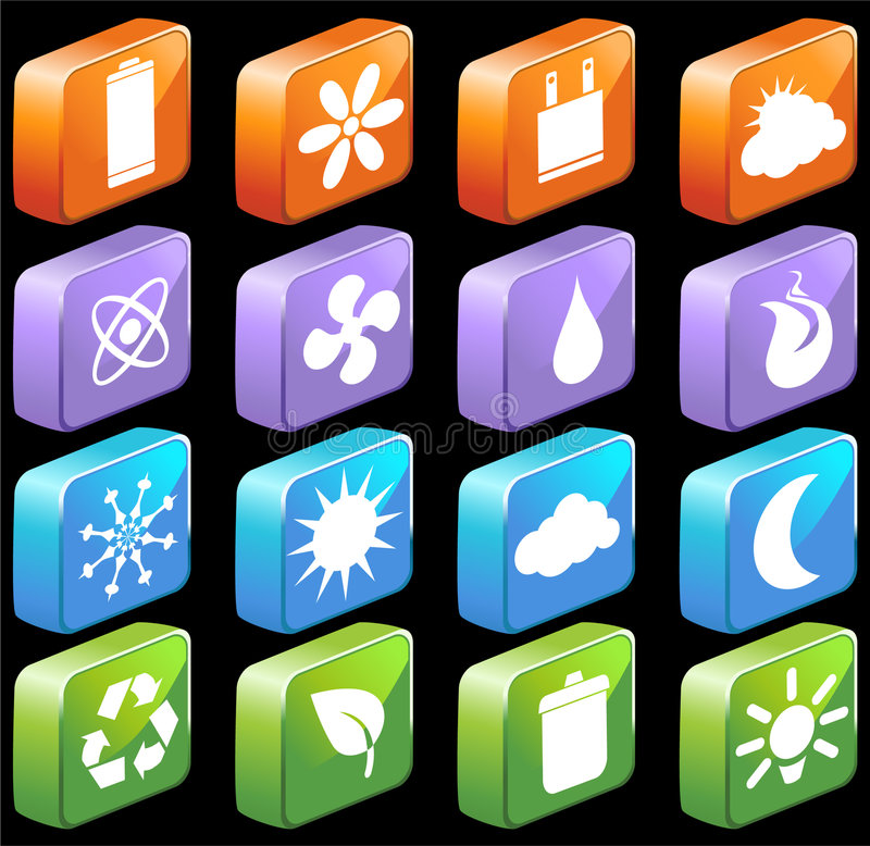 Download Square 3D Eco Friendly Buttons Stock Vector - Image: 9274976
