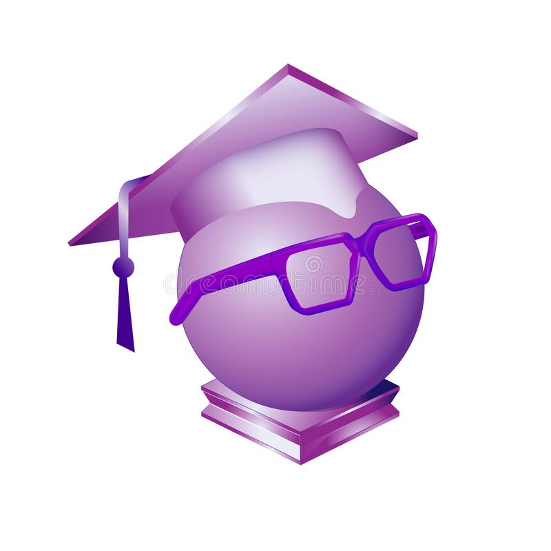 Square academic cap dressed on sphere purple humanized magical crystal in glasses. Solid scientific figure, simple minimalistic ro. Und ball, geometric shape orb vector illustration
