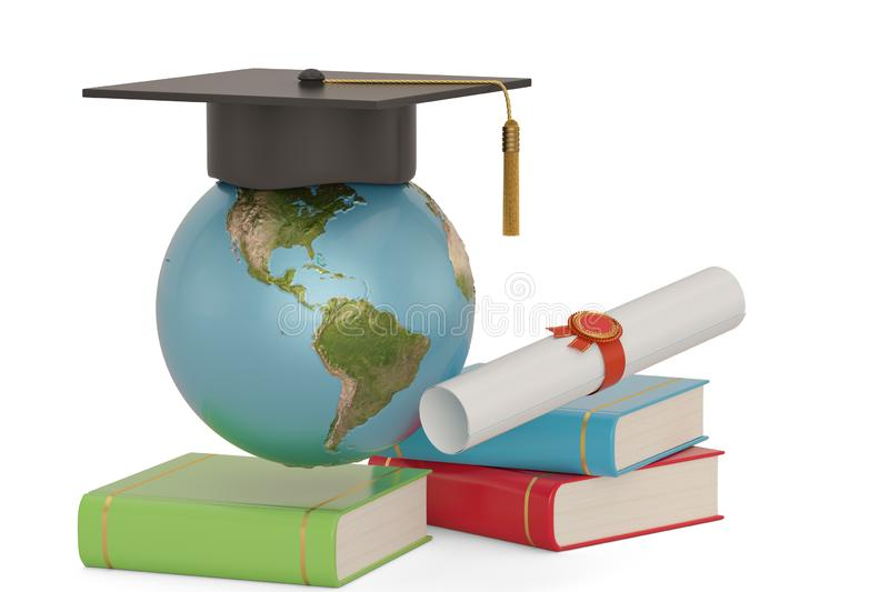 Square academic cap with globe and books isolated on white background. 3D illustration stock illustration