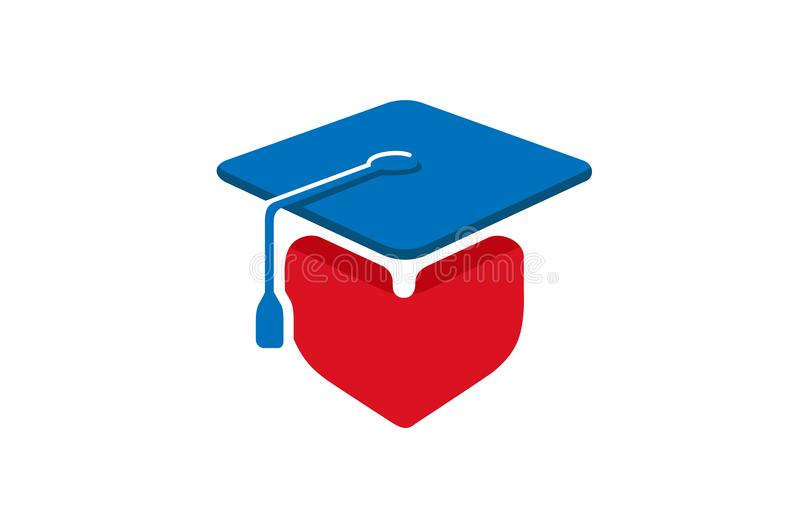 Square Academic Cap Heart Student Design Logo vector illustration