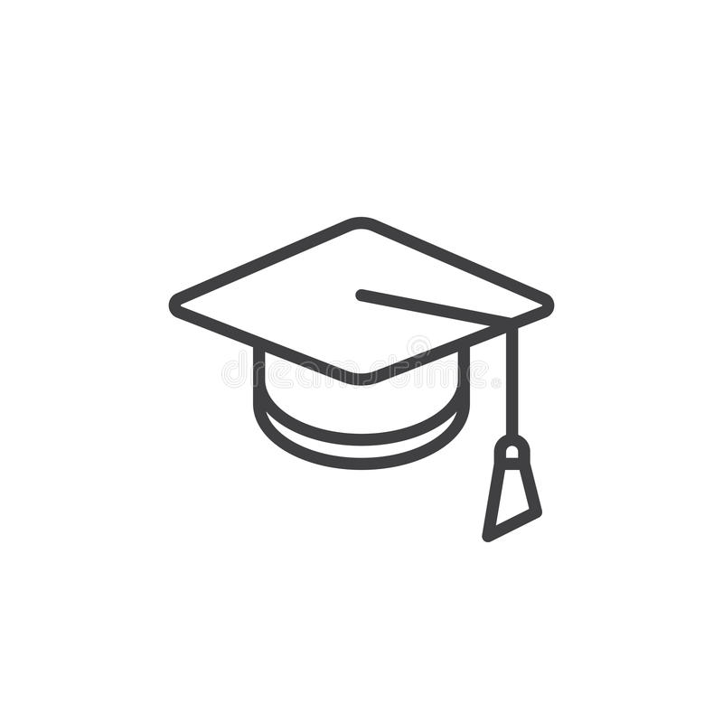 Square academic cap line icon. Outline vector sign, linear style pictogram isolated on white. Mortarboard, Graduation symbol, logo illustration. Editable royalty free illustration