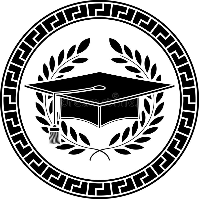 Square academic cap. Stencil. second variant royalty free illustration