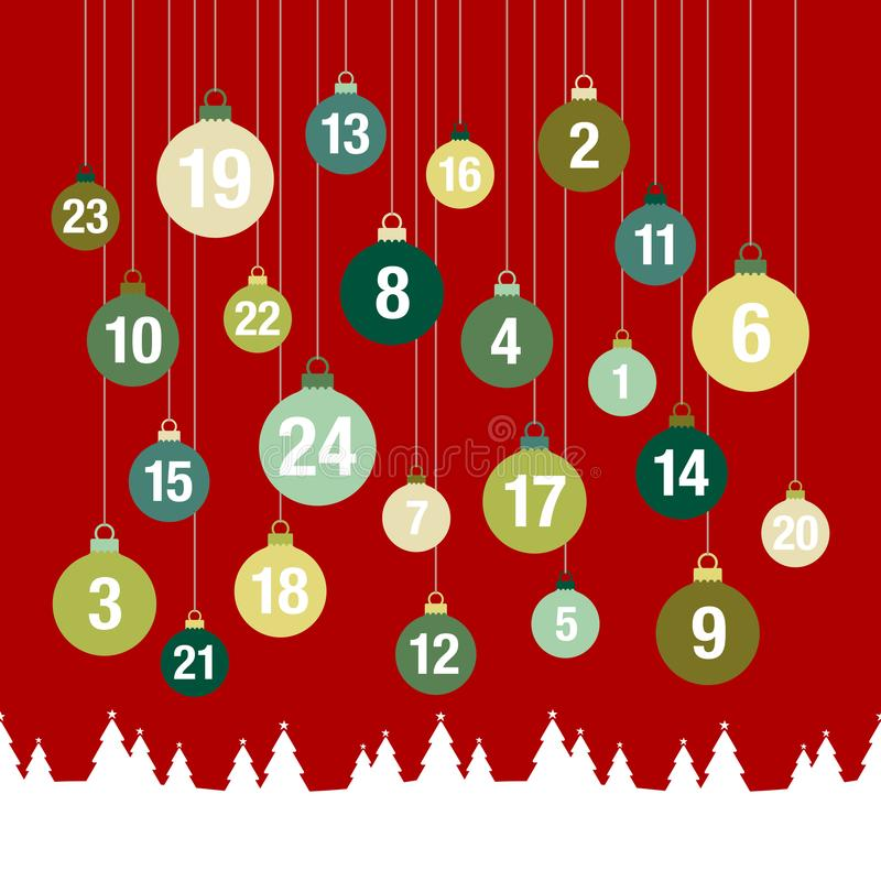 Square Advent Calendar Christmas Baubles Forest Red Green royalty free illustration