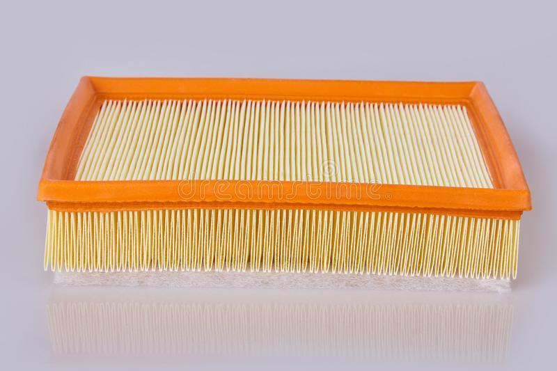 Square Air filter isolated on white background, auto spare part stock photo