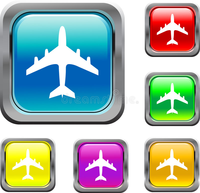 Square Air Plane Buttons vector illustration