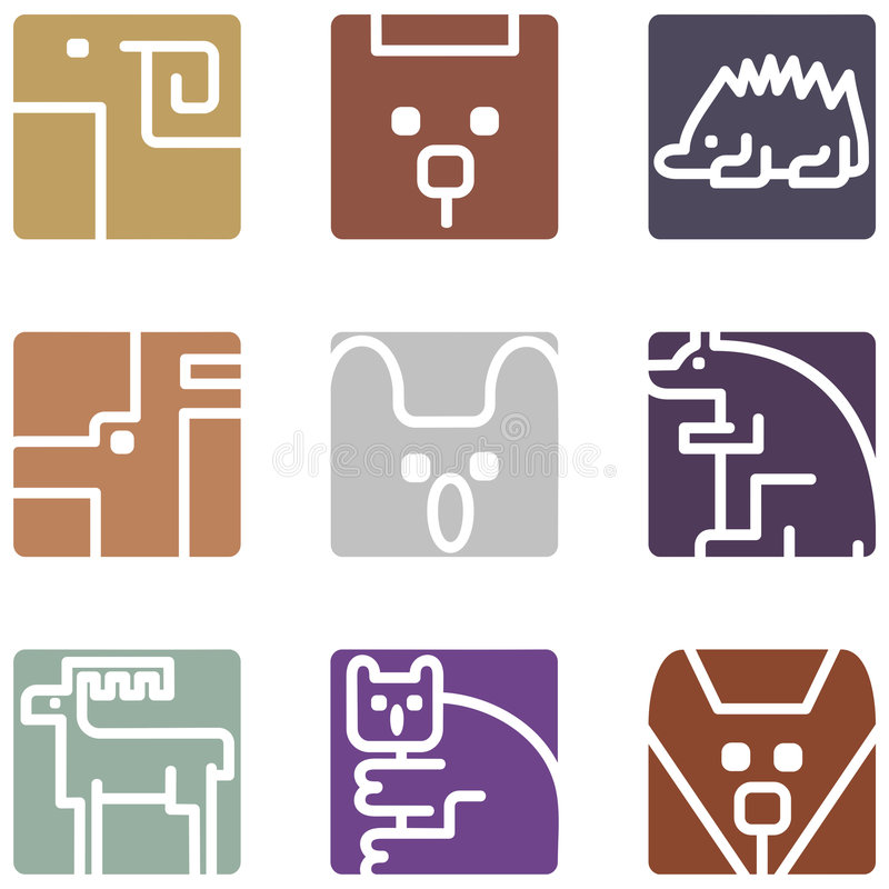 Square Animal Icons Stock Photos