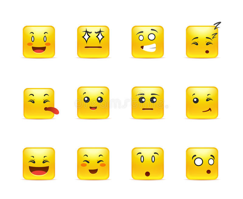 Square anime smiley. Beautiful happy yellow square anime smiley in a small set of stock illustration