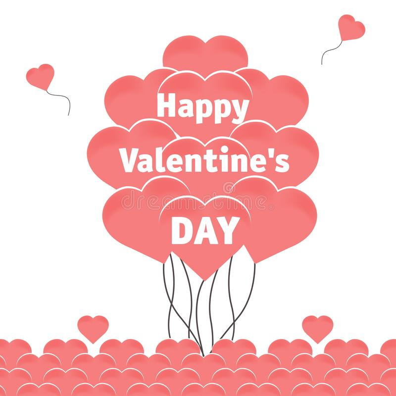 The inscription Happy Valentine`s Day. Square background with a bunch of balloons in the shape of hearts in coral color. Square background with a bunch of royalty free illustration