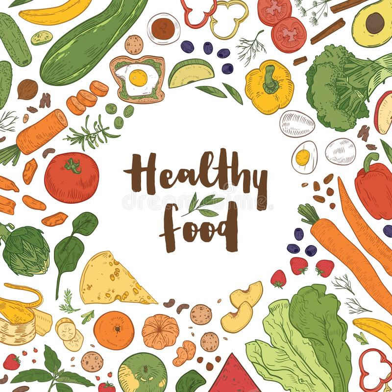 Square background with frame consisted of various healthy food on white background. Delicious eco wholesome vegetables vector illustration