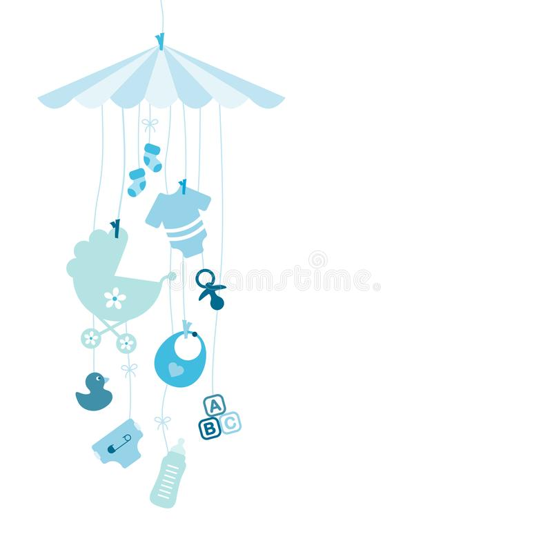 Hanging Baby Mobilé With Icons Boy Blue royalty free illustration